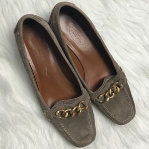 Talbots brown suede tan loafers heels size 7B